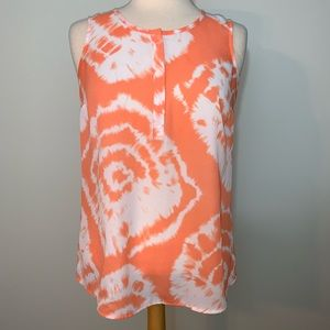Orange sleeveless tank w/white tie dye look